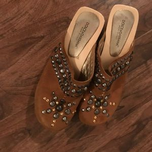 Dolce and Gabbana, Sued Studded Clogs